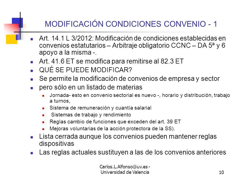 Carlos.L.Alfonso@uv.es - Universidad de Valencia9 MODIFICACIÓN SUSTANCIAL - 5 EFECTOS: Decide el empresario y la modificación se aplica Posibilidad de extinción en los casos indicados, incluso después de la impugnación judicial Posibilidad de impugnación judicial Individual: 138 LJS Colectiva: 153 LJS Si hay acuerdo presunción de causa e impugnación limitada a dolo, coacción, fraude de ley o abuso de derecho ¿Qué significa