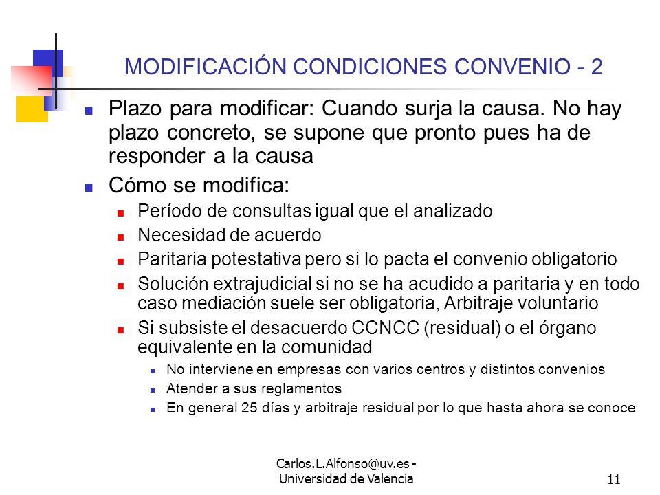 Carlos.L.Alfonso@uv.es - Universidad de Valencia10 MODIFICACIÓN CONDICIONES CONVENIO - 1 Art.