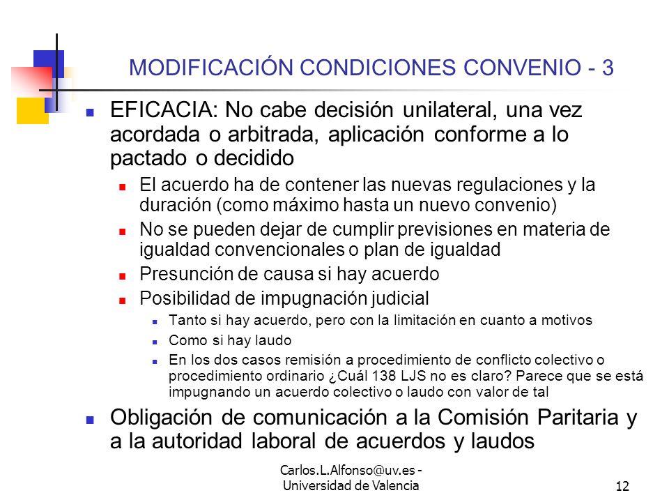 Carlos.L.Alfonso@uv.es - Universidad de Valencia11 MODIFICACIÓN CONDICIONES CONVENIO - 2 Plazo para modificar: Cuando surja la causa.