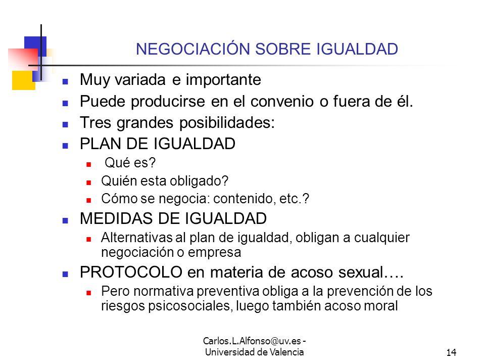Carlos.L.Alfonso@uv.es - Universidad de Valencia13 PERIODOS DE CONSULTA Muy variados: 40, 44.9, 47, 51 ET, reconducibles a las reglas analizadas en materia de 41 ET.