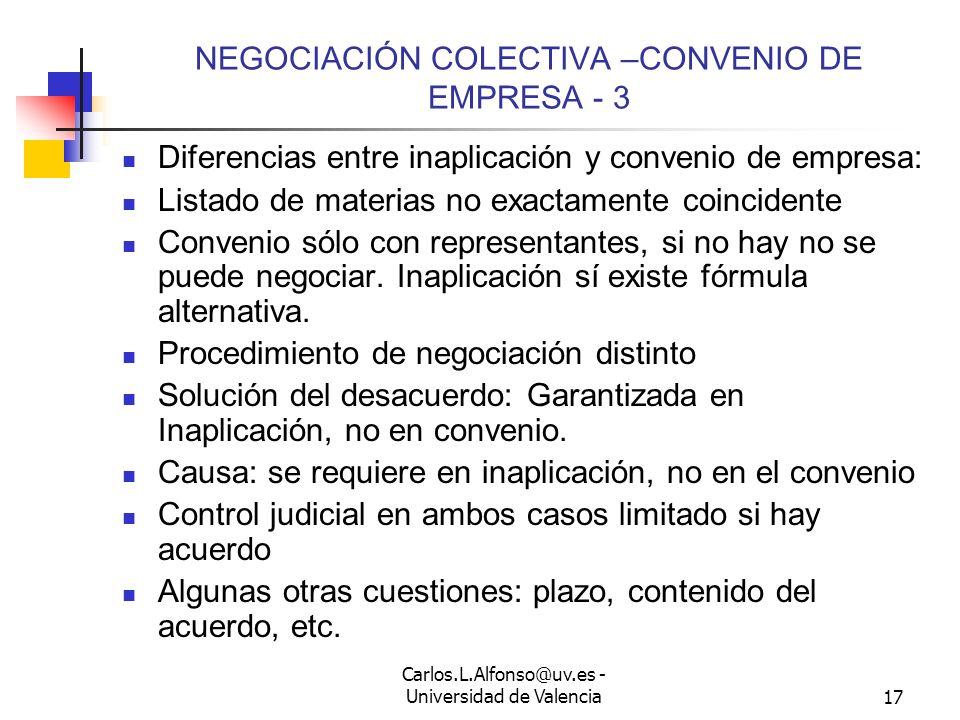 Carlos.L.Alfonso@uv.es - Universidad de Valencia16 NEGOCIACIÓN COLECTIVA –CONVENIO DE EMPRESA - 2 Hay obligación de negociar.