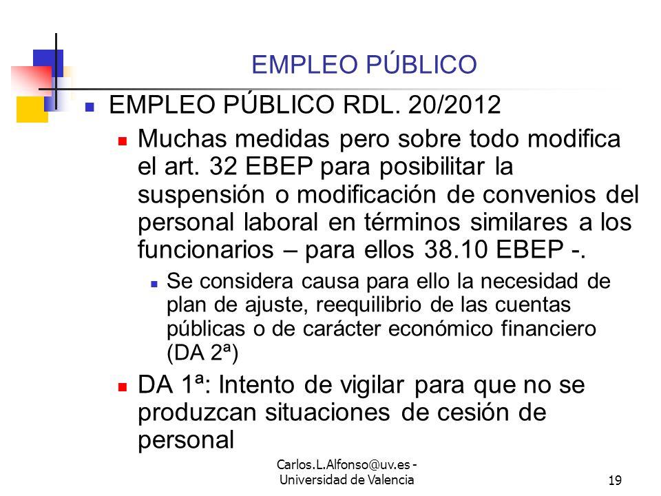 Carlos.L.Alfonso@uv.es - Universidad de Valencia18 LAS MEDIDAS: NEGOCIACIÓN COLECTIVA – DURACIÓN Y PRÓRROGA - Art.