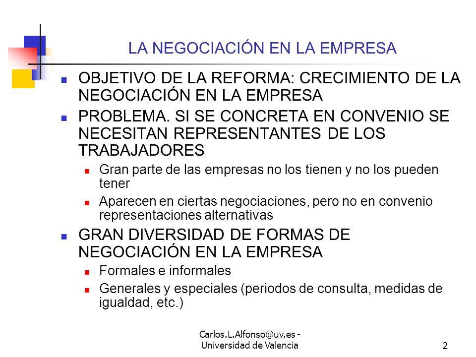 LA NEGOCIACIÓN EN LA EMPRESA TRAS LA REFORMA DE 2012 Carlos L. Alfonso Universidad de Valencia 2012