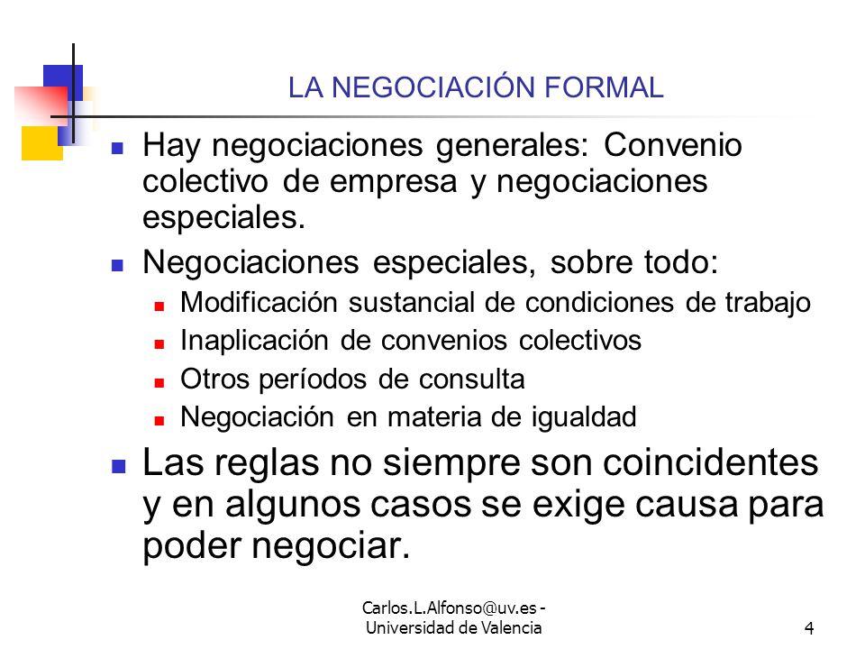 Carlos.L.Alfonso@uv.es - Universidad de Valencia3 LA NEGOCIACIÓN INFORMAL En la empresa es posible negociación informal Bien directamente con los trabajadores, bien directamente con los representantes de los trabajadores.