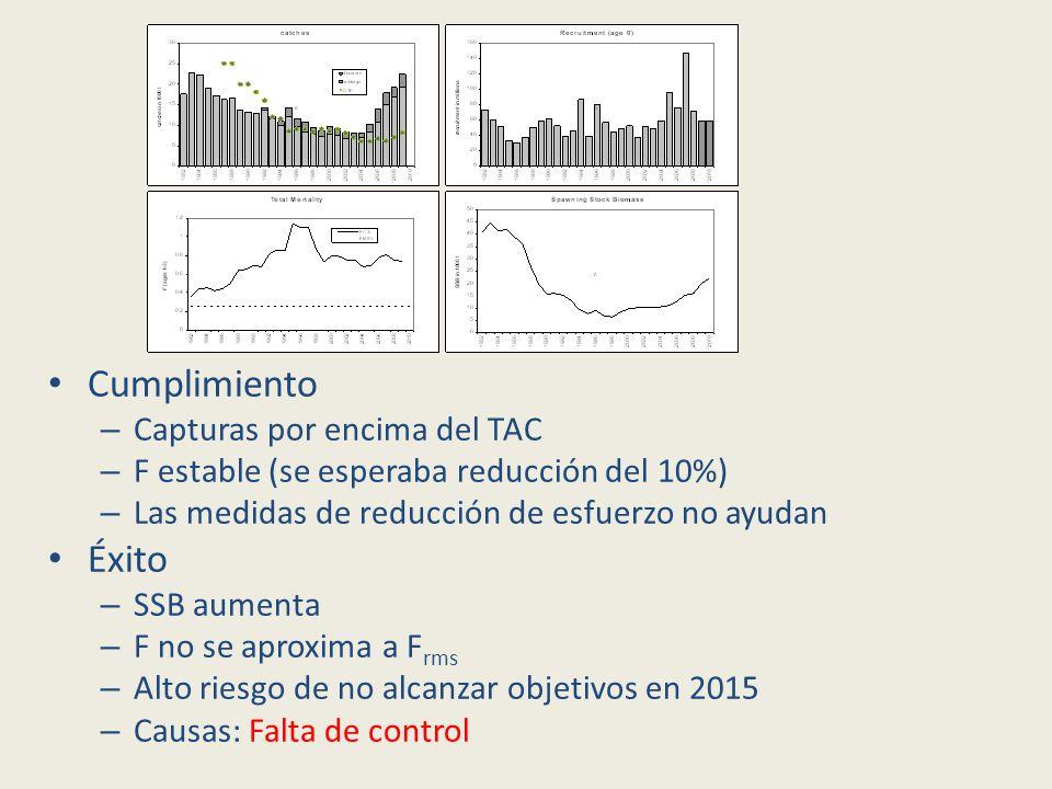 Cumplimiento – Capturas por encima del TAC – F estable (se esperaba reducción del 10%) – Las medidas de reducción de esfuerzo no ayudan Éxito – SSB aumenta – F no se aproxima a F rms – Alto riesgo de no alcanzar objetivos en 2015 – Causas: Falta de control