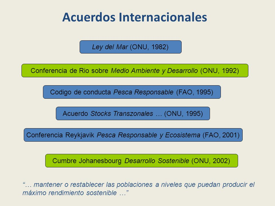 Acuerdos Internacionales Ley del Mar (ONU, 1982) Conferencia de Rio sobre Medio Ambiente y Desarrollo (ONU, 1992) Cumbre Johanesbourg Desarrollo Sostenible (ONU, 2002) Conferencia Reykjavik Pesca Responsable y Ecosistema (FAO, 2001) Acuerdo Stocks Transzonales … (ONU, 1995) Codigo de conducta Pesca Responsable (FAO, 1995) … mantener o restablecer las poblaciones a niveles que puedan producir el máximo rendimiento sostenible …
