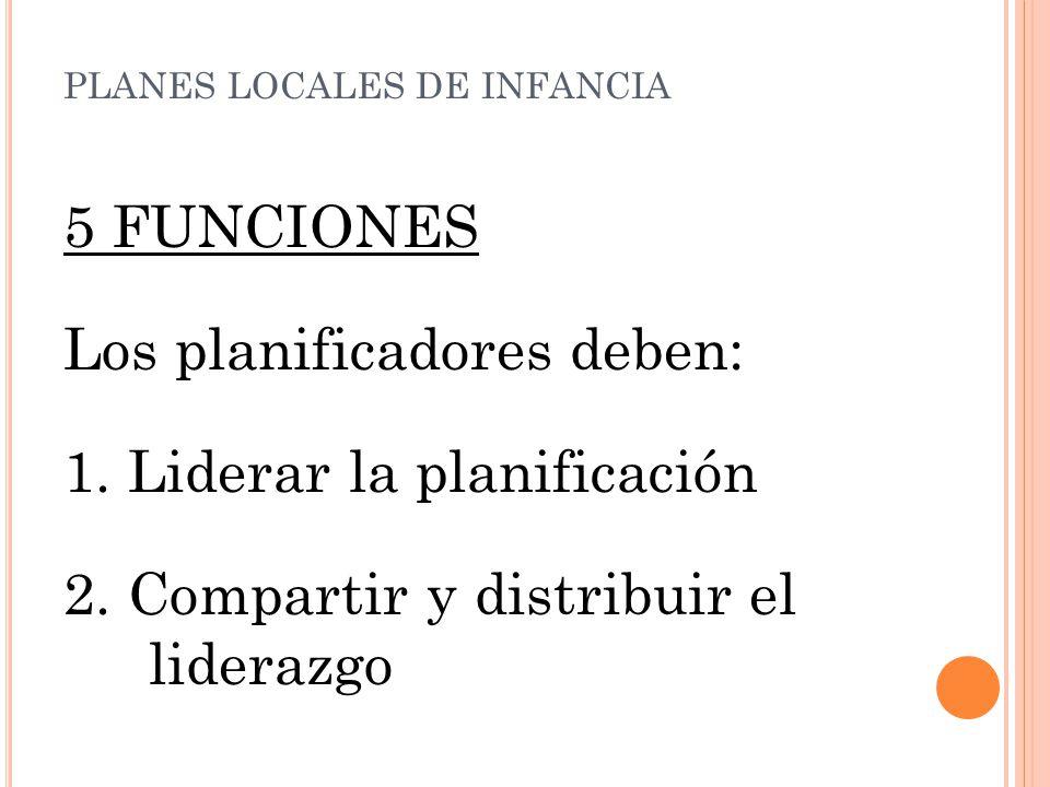 5 FUNCIONES Los planificadores deben: 1. Liderar la planificación 2.