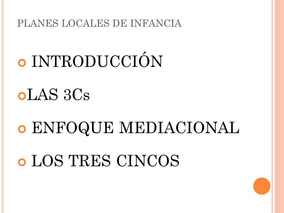 INTRODUCCIÓN LAS 3Cs ENFOQUE MEDIACIONAL LOS TRES CINCOS PLANES LOCALES DE INFANCIA