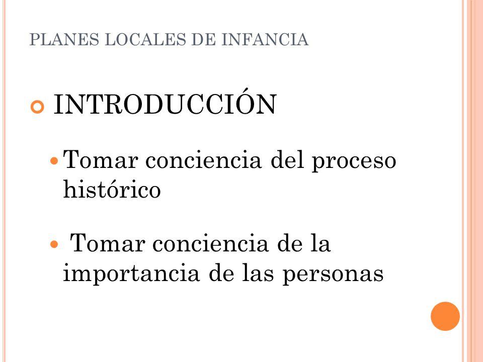 INTRODUCCIÓN Tomar conciencia del proceso histórico Tomar conciencia de la importancia de las personas PLANES LOCALES DE INFANCIA