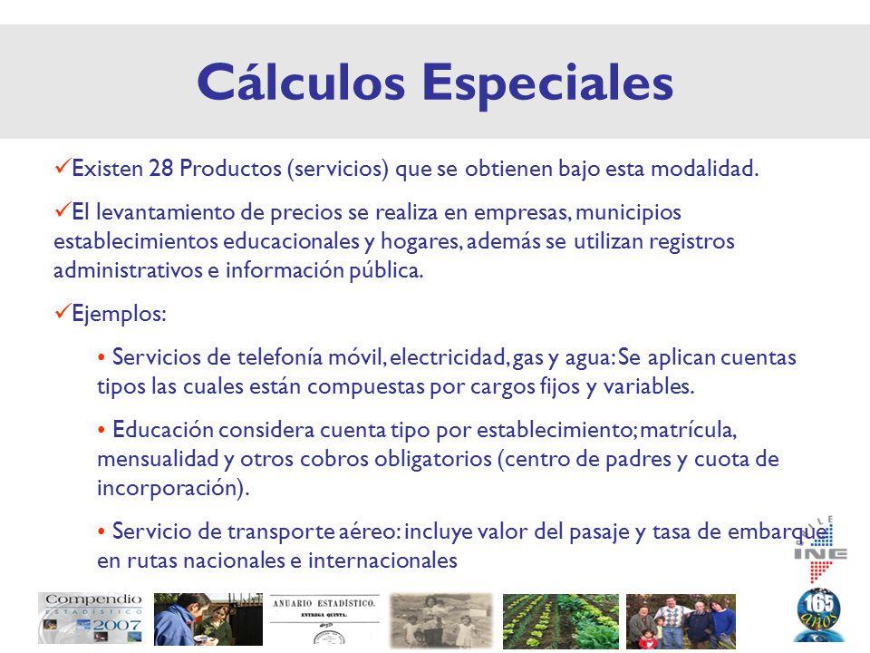 Cálculos Especiales Existen 28 Productos (servicios) que se obtienen bajo esta modalidad.