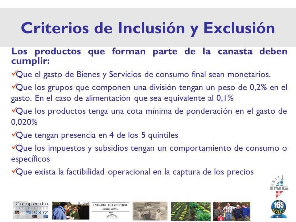 Criterios de Inclusión y Exclusión Los productos que forman parte de la canasta deben cumplir: Que el gasto de Bienes y Servicios de consumo final sean monetarios.
