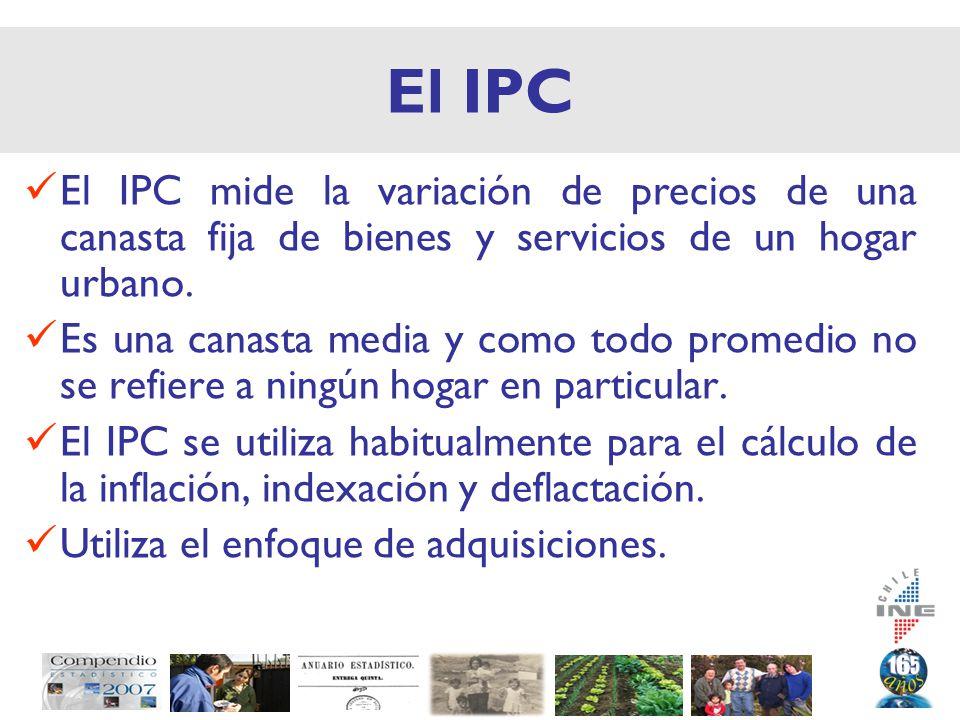 El IPC El IPC mide la variación de precios de una canasta fija de bienes y servicios de un hogar urbano.