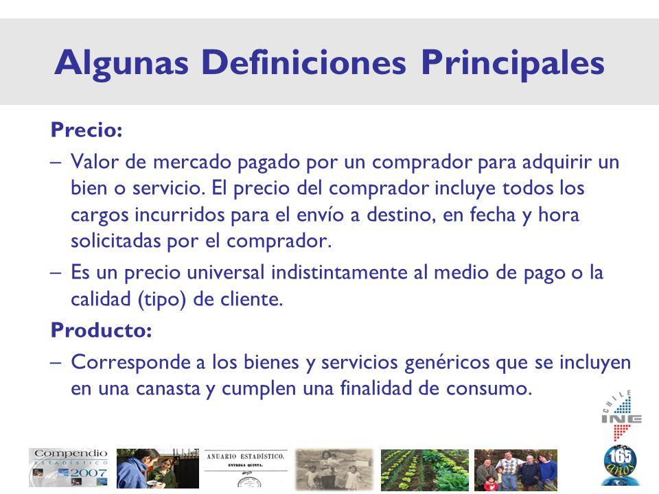 Algunas Definiciones Principales Precio: –Valor de mercado pagado por un comprador para adquirir un bien o servicio.