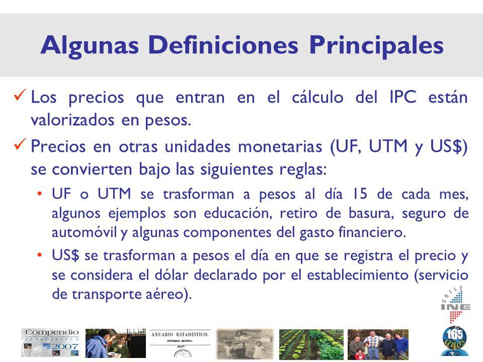Algunas Definiciones Principales Los precios que entran en el cálculo del IPC están valorizados en pesos.