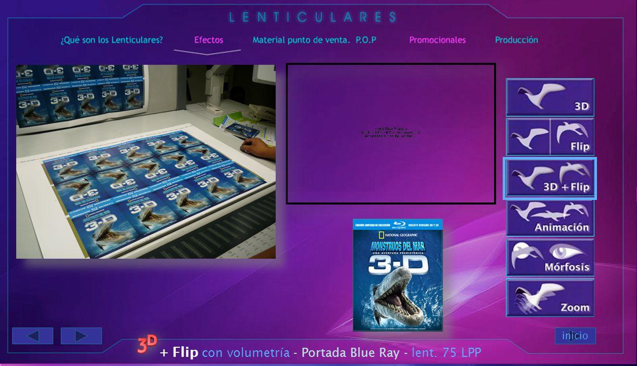 inicio 3D más Flip - Portada cuaderno lenticular 75 LPP verticales + Flip