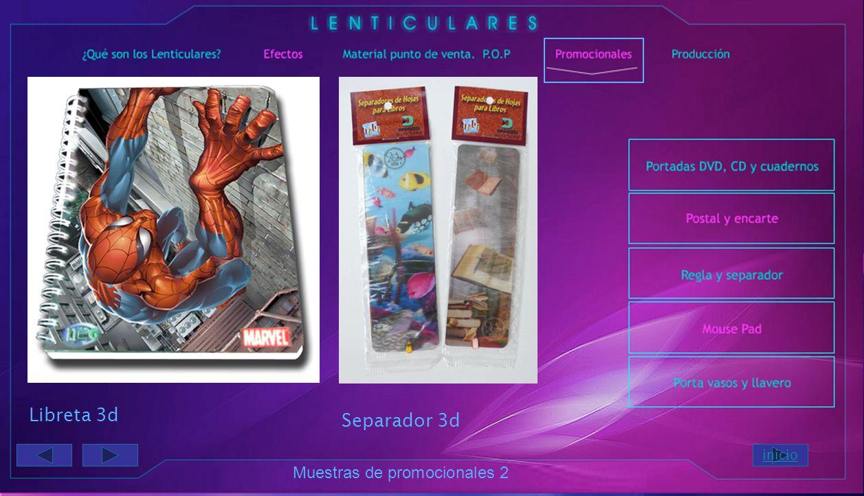Muestras de promocionales Postal 3 flip Postal Avatar 3d Cenefa 3d flip inicio