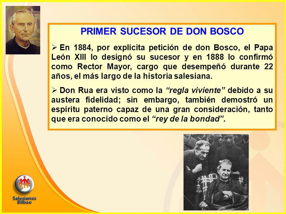 PRIMER SUCESOR DE DON BOSCO  En 1884, por explícita petición de don Bosco, el Papa León XIII lo designó su sucesor y en 1888 lo confirmó como Rector Mayor, cargo que desempeñó durante 22 años, el más largo de la historia salesiana.