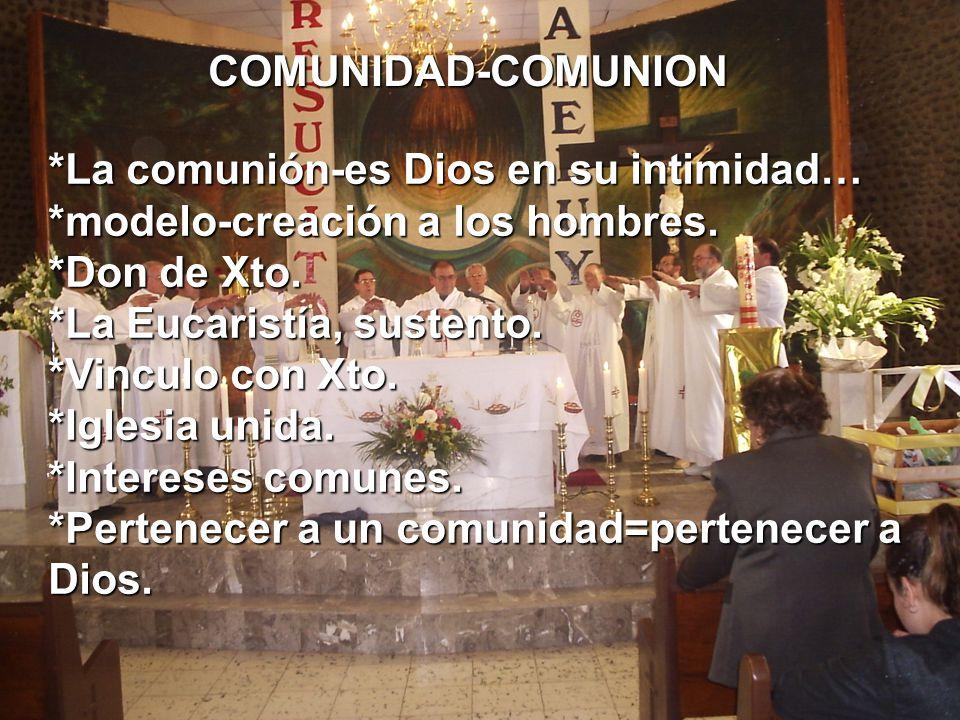 COMUNIDAD-COMUNION *La comunión-es Dios en su intimidad… *modelo-creación a los hombres.