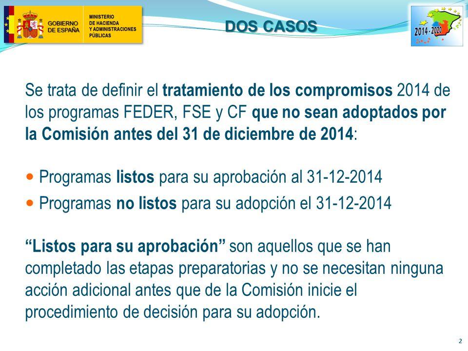 DOS CASOS Se trata de definir el tratamiento de los compromisos 2014 de los programas FEDER, FSE y CF que no sean adoptados por la Comisión antes del 31 de diciembre de 2014 : Programas listos para su aprobación al 31-12-2014 Programas no listos para su adopción el 31-12-2014 Listos para su aprobación son aquellos que se han completado las etapas preparatorias y no se necesitan ninguna acción adicional antes que de la Comisión inicie el procedimiento de decisión para su adopción.