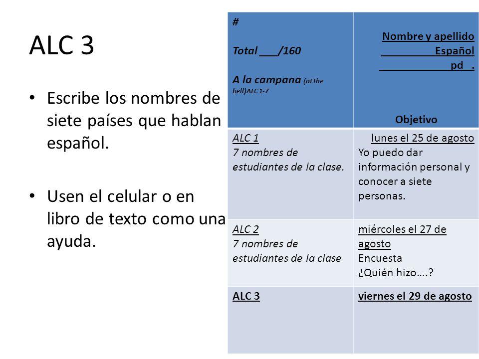 ALC 3 Escribe los nombres de siete países que hablan español.