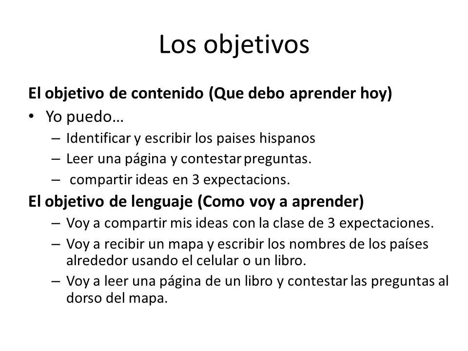 Los objetivos El objetivo de contenido (Que debo aprender hoy) Yo puedo… – Identificar y escribir los paises hispanos – Leer una página y contestar preguntas.