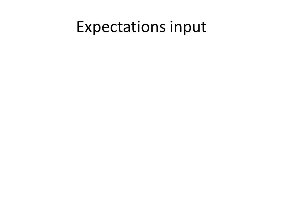 Expectations input