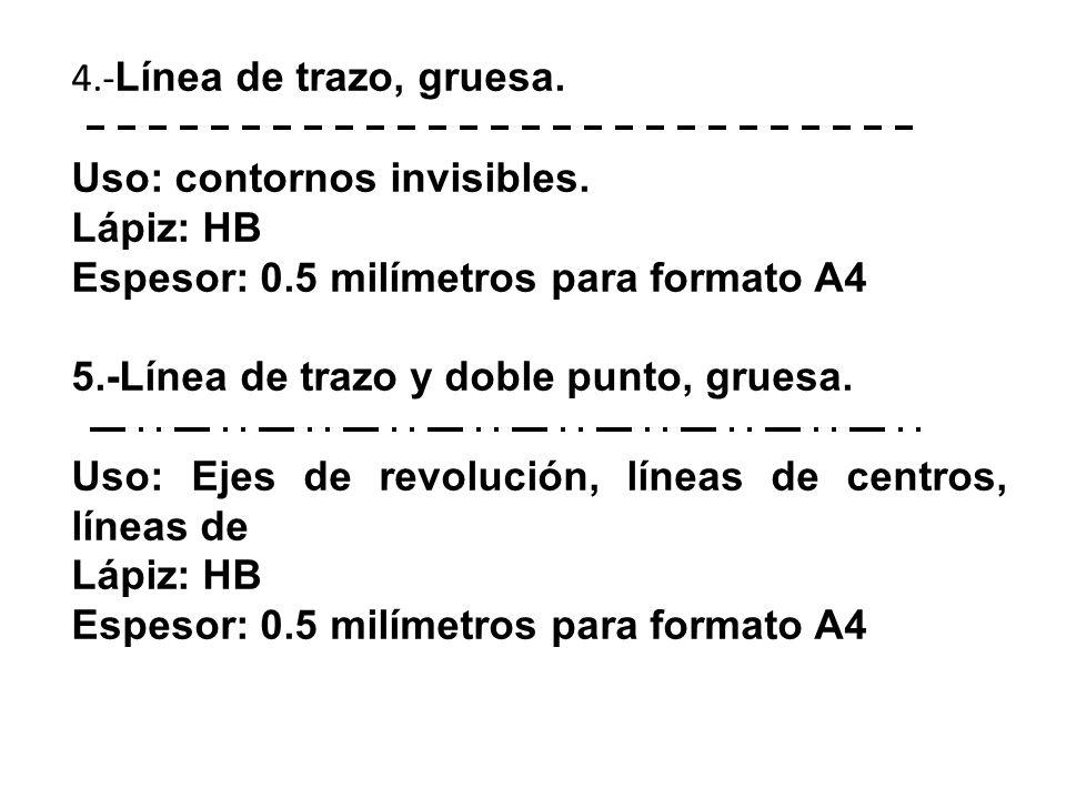 4.- Línea de trazo, gruesa. Uso: contornos invisibles.