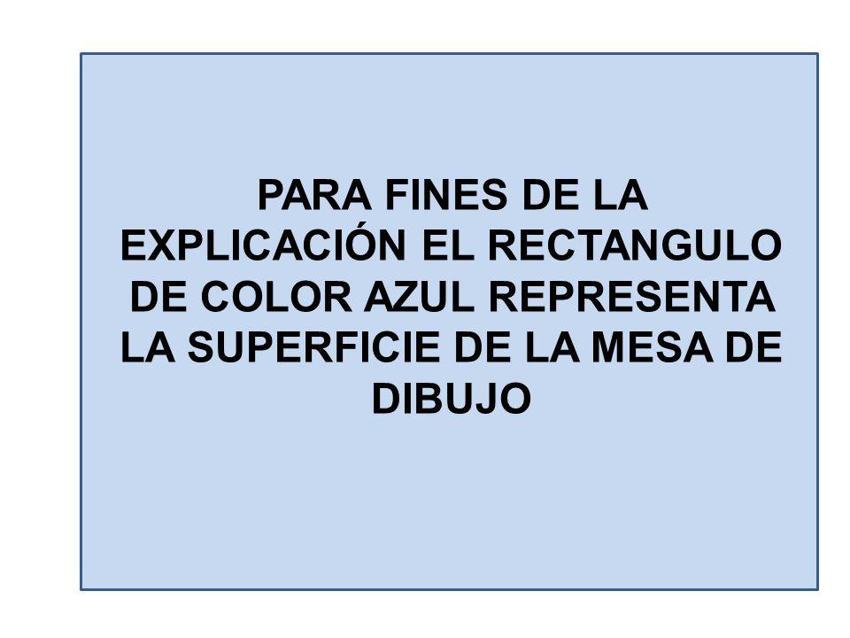 PARA FINES DE LA EXPLICACIÓN EL RECTANGULO DE COLOR AZUL REPRESENTA LA SUPERFICIE DE LA MESA DE DIBUJO