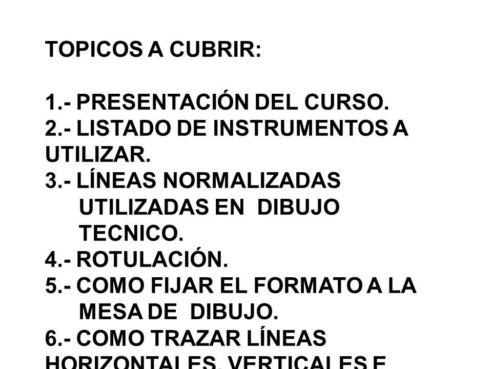 TOPICOS A CUBRIR: 1.- PRESENTACIÓN DEL CURSO. 2.- LISTADO DE INSTRUMENTOS A UTILIZAR.