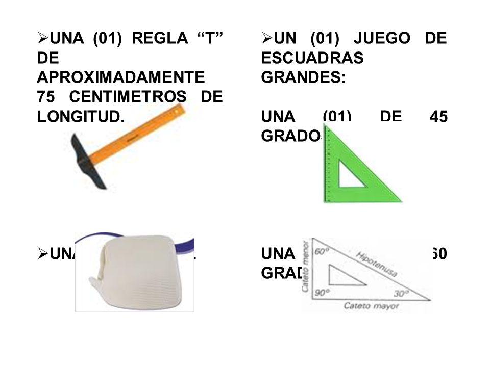  UNA (01) REGLA T DE APROXIMADAMENTE 75 CENTIMETROS DE LONGITUD.