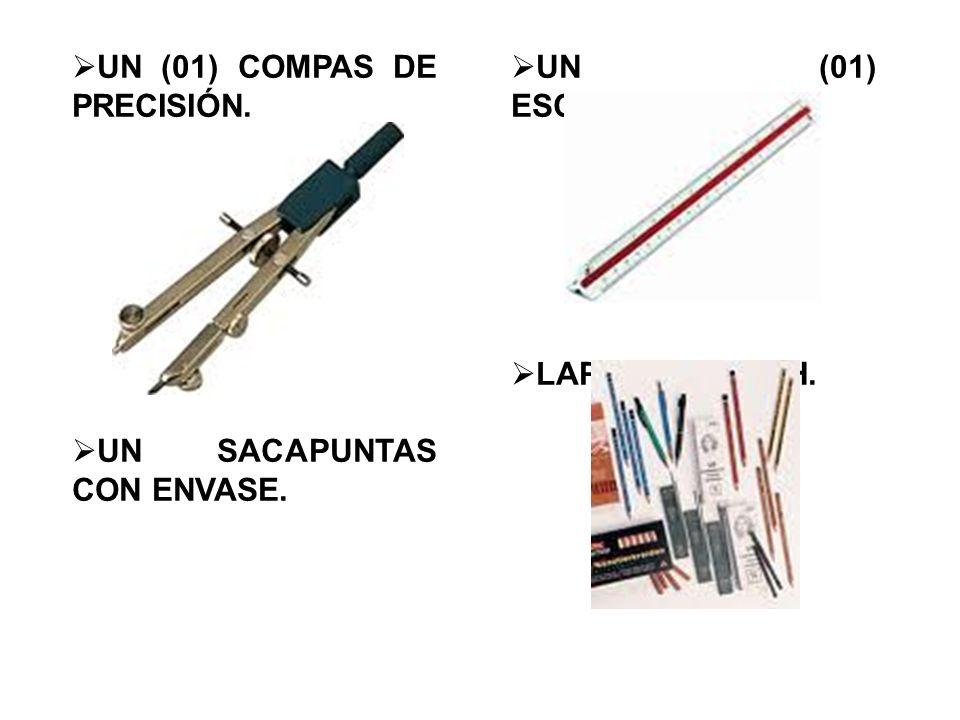  UN (01) COMPAS DE PRECISIÓN.  UN SACAPUNTAS CON ENVASE.