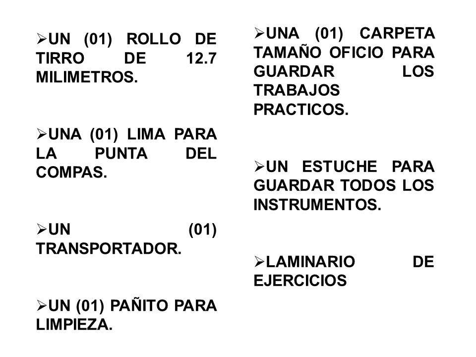  UN (01) ROLLO DE TIRRO DE 12.7 MILIMETROS.  UNA (01) LIMA PARA LA PUNTA DEL COMPAS.