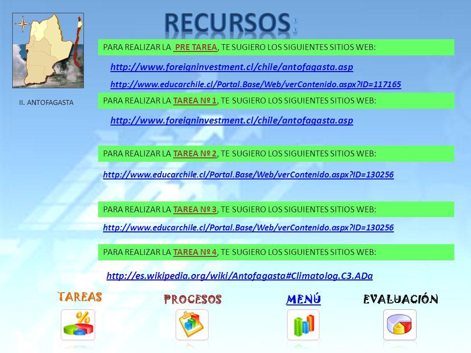 TAREAS PROCESOSMENÚ PARA REALIZAR LA TAREA Nº 1, TE SUGIERO LOS SIGUIENTES SITIOS WEB: PARA REALIZAR LA TAREA Nº 2, TE SUGIERO LOS SIGUIENTES SITIOS WEB: PARA REALIZAR LA TAREA Nº 3, TE SUGIERO LOS SIGUIENTES SITIOS WEB: PARA REALIZAR LA TAREA Nº 4, TE SUGIERO LOS SIGUIENTES SITIOS WEB: http://www.foreigninvestment.cl/chile/tarapaca.asp http://www.educarchile.cl/Portal.Base/Web/verContenido.aspx ID=130253 http://es.wikipedia.org/wiki/Iquique#Climatolog.C3.ADa EVALUACIÓN I.