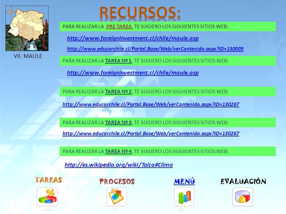 TAREAS PROCESOSMENÚ PARA REALIZAR LA TAREA Nº 1, TE SUGIERO LOS SIGUIENTES SITIOS WEB: PARA REALIZAR LA TAREA Nº 2, TE SUGIERO LOS SIGUIENTES SITIOS WEB: PARA REALIZAR LA TAREA Nº 3, TE SUGIERO LOS SIGUIENTES SITIOS WEB: PARA REALIZAR LA TAREA Nº 4, TE SUGIERO LOS SIGUIENTES SITIOS WEB: http://www.foreigninvestment.cl/chile/ohiggins.asp http://www.educarchile.cl/Portal.Base/Web/verContenido.aspx ID=130265 ://www.educarchile.cl/Portal.Base/Web/verContenido.aspx ID=130265 http://es.wikipedia.org/wiki/Rancagua#Climatolog.C3.ADa EVALUACIÓN VI.