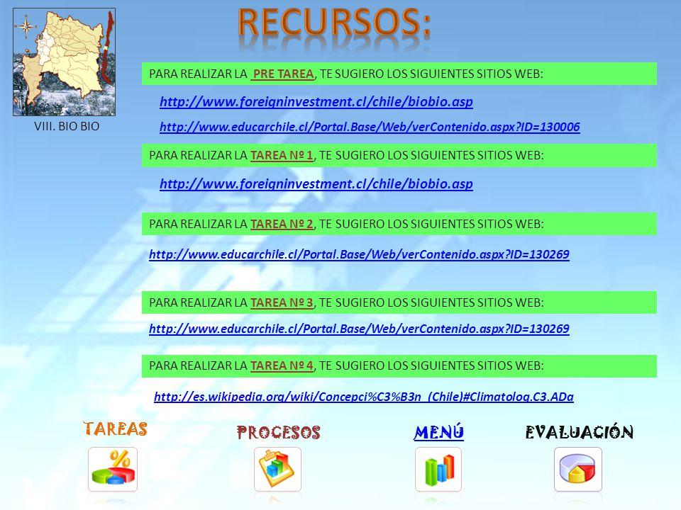 TAREAS PROCESOSMENÚ PARA REALIZAR LA TAREA Nº 1, TE SUGIERO LOS SIGUIENTES SITIOS WEB: PARA REALIZAR LA TAREA Nº 2, TE SUGIERO LOS SIGUIENTES SITIOS WEB: PARA REALIZAR LA TAREA Nº 3, TE SUGIERO LOS SIGUIENTES SITIOS WEB: PARA REALIZAR LA TAREA Nº 4, TE SUGIERO LOS SIGUIENTES SITIOS WEB: http://www.foreigninvestment.cl/chile/maule.asp http://www.educarchile.cl/Portal.Base/Web/verContenido.aspx ID=130267 http://es.wikipedia.org/wiki/Talca#Clima EVALUACIÓN VII.