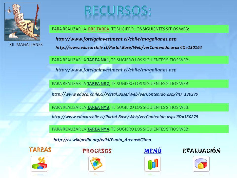 TAREAS PROCESOSMENÚ PARA REALIZAR LA TAREA Nº 1, TE SUGIERO LOS SIGUIENTES SITIOS WEB: PARA REALIZAR LA TAREA Nº 2, TE SUGIERO LOS SIGUIENTES SITIOS WEB: PARA REALIZAR LA TAREA Nº 3, TE SUGIERO LOS SIGUIENTES SITIOS WEB: PARA REALIZAR LA TAREA Nº 4, TE SUGIERO LOS SIGUIENTES SITIOS WEB: http://www.foreigninvestment.cl/chile/aysen.asp http://www.educarchile.cl/Portal.Base/Web/verContenido.aspx ID=130276 http://es.wikipedia.org/wiki/Coyhaique#Clima EVALUACIÓN XI.