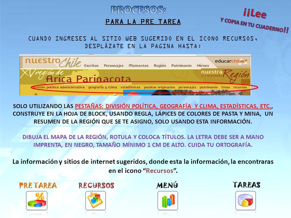 Tarea PREVIA: ELABORA UN RESUMEN CON LA PRINCIPALES CARACTERÍSTICAS DE LA REGIÓN ASIGNADA: MAPA, CAPITAL, PROVINCIAS, COMUNAS, HABITANTES, SUPERFICIE, CLIMA, ECONOMÍA, ETC.