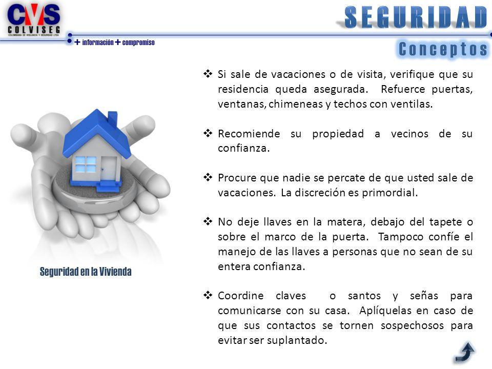 + información + compromiso Seguridad en la Vivienda  Si sale de vacaciones o de visita, verifique que su residencia queda asegurada.