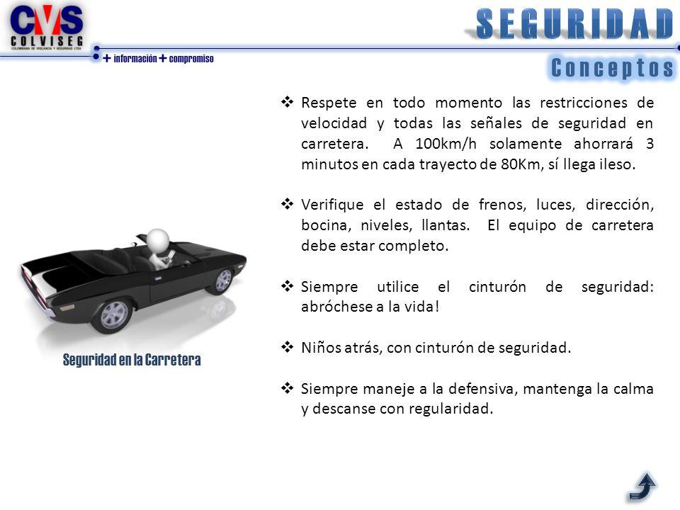 + información + compromiso  Respete en todo momento las restricciones de velocidad y todas las señales de seguridad en carretera.