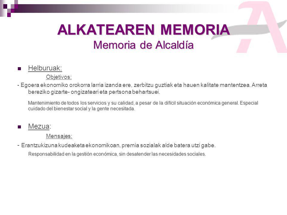 ALKATEAREN MEMORIA Memoria de Alcaldía Helburuak: Objetivos: - Egoera ekonomiko orokorra larria izanda ere, zerbitzu guztiak eta hauen kalitate mantentzea.