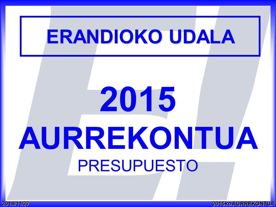 2014/11/272015ko AURREKONTUA 2015 AURREKONTUA PRESUPUESTO ERANDIOKO UDALA