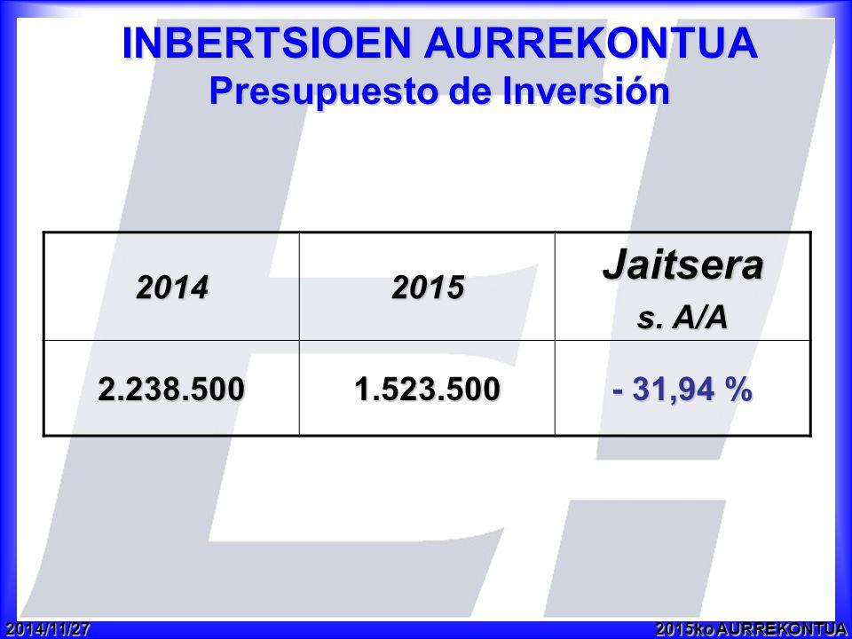 2014/11/272015ko AURREKONTUA INBERTSIOEN AURREKONTUA Presupuesto de Inversión 20142015Jaitsera s.
