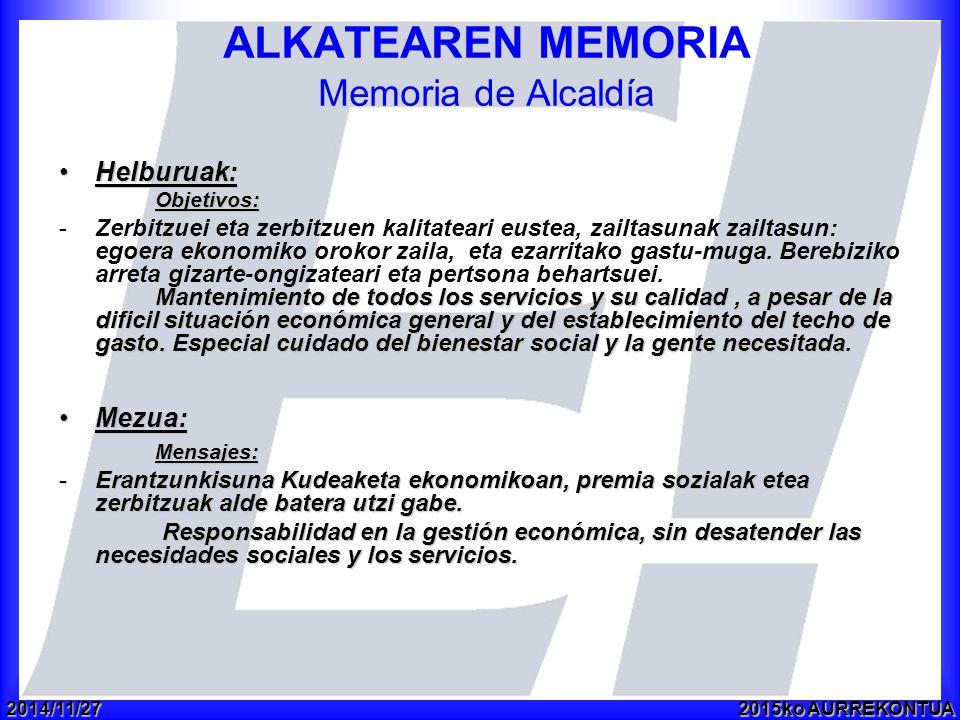 2014/11/272015ko AURREKONTUA ALKATEAREN MEMORIA Memoria de Alcaldía Helburuak:Helburuak:Objetivos: Mantenimiento de todos los servicios y su calidad, a pesar de la dificil situación económica general y del establecimiento del techo de gasto.