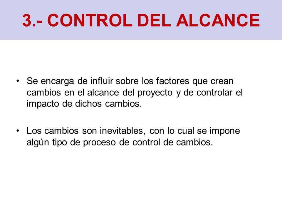 3.- CONTROL DEL ALCANCE Se encarga de influir sobre los factores que crean cambios en el alcance del proyecto y de controlar el impacto de dichos cambios.