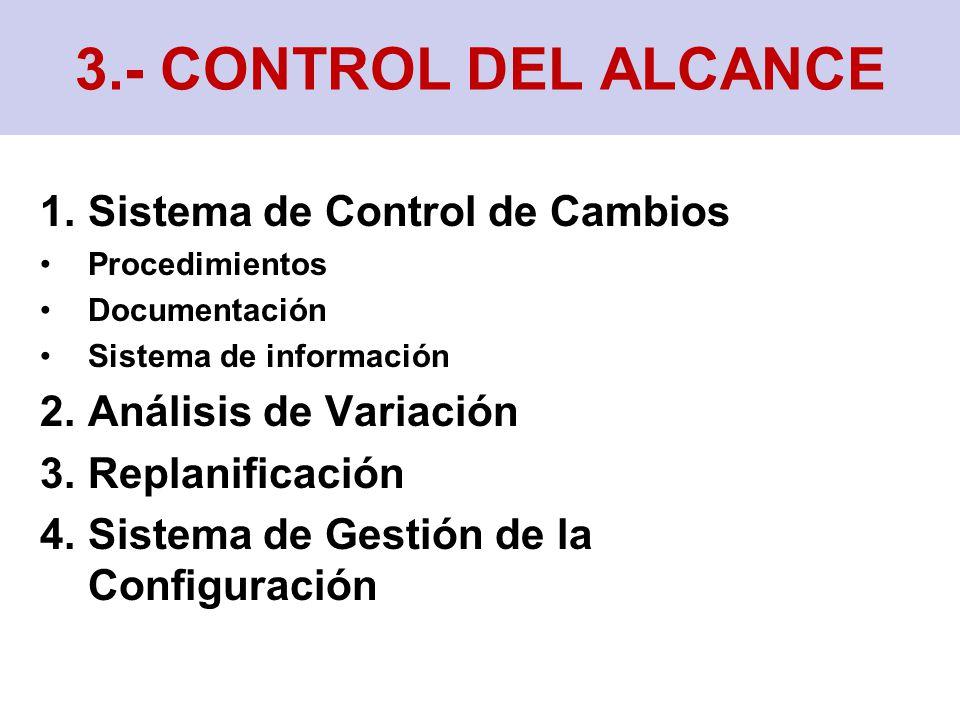 1.Sistema de Control de Cambios Procedimientos Documentación Sistema de información 2.Análisis de Variación 3.Replanificación 4.Sistema de Gestión de la Configuración