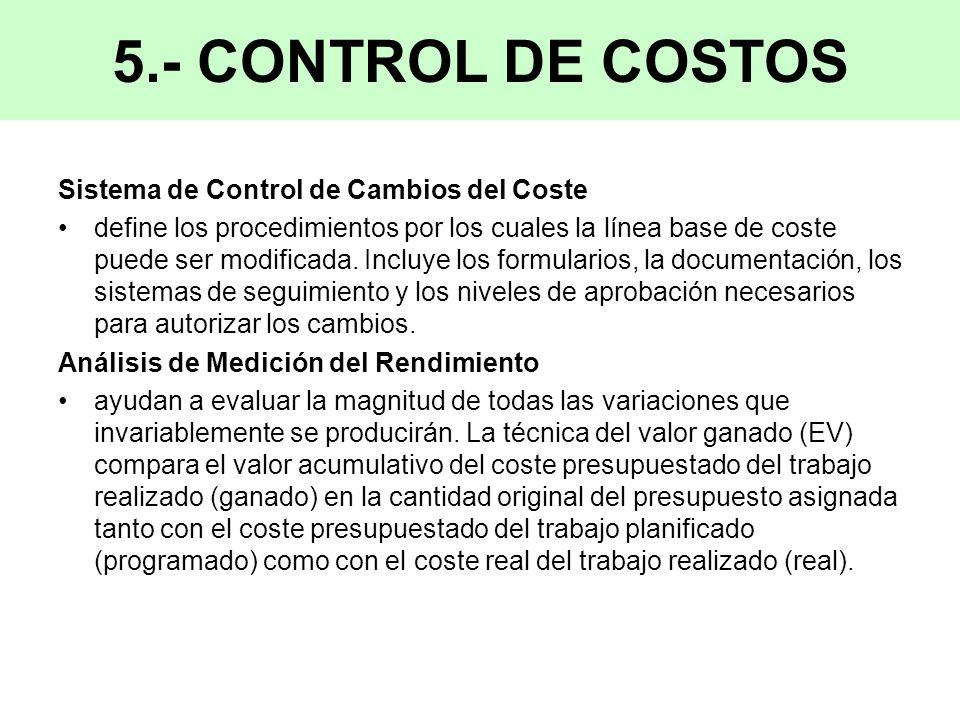 Sistema de Control de Cambios del Coste define los procedimientos por los cuales la línea base de coste puede ser modificada.