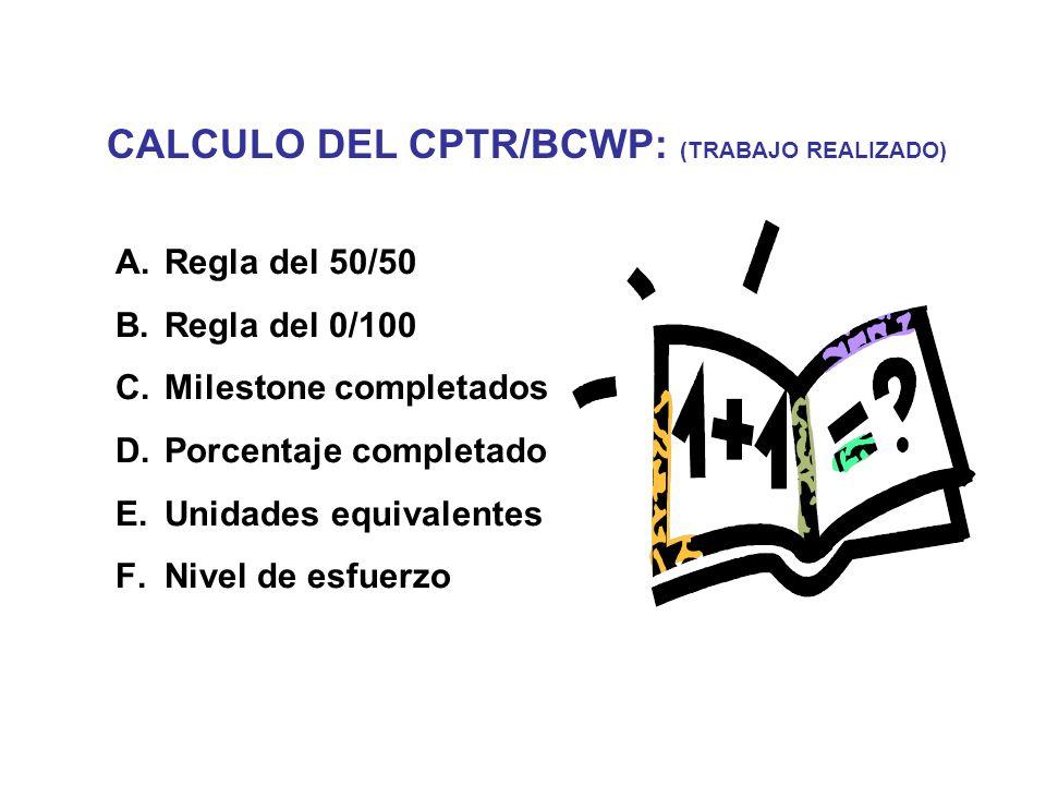 CALCULO DEL CPTR/BCWP: (TRABAJO REALIZADO) A. Regla del 50/50 B.
