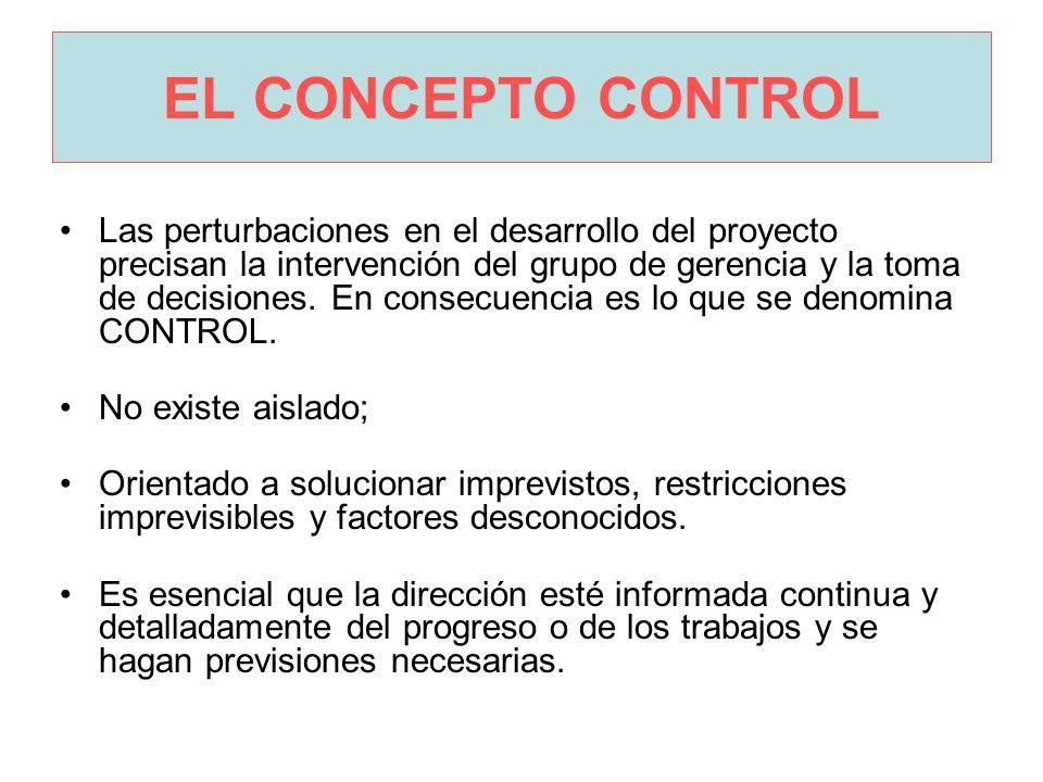 EL CONCEPTO CONTROL Las perturbaciones en el desarrollo del proyecto precisan la intervención del grupo de gerencia y la toma de decisiones.