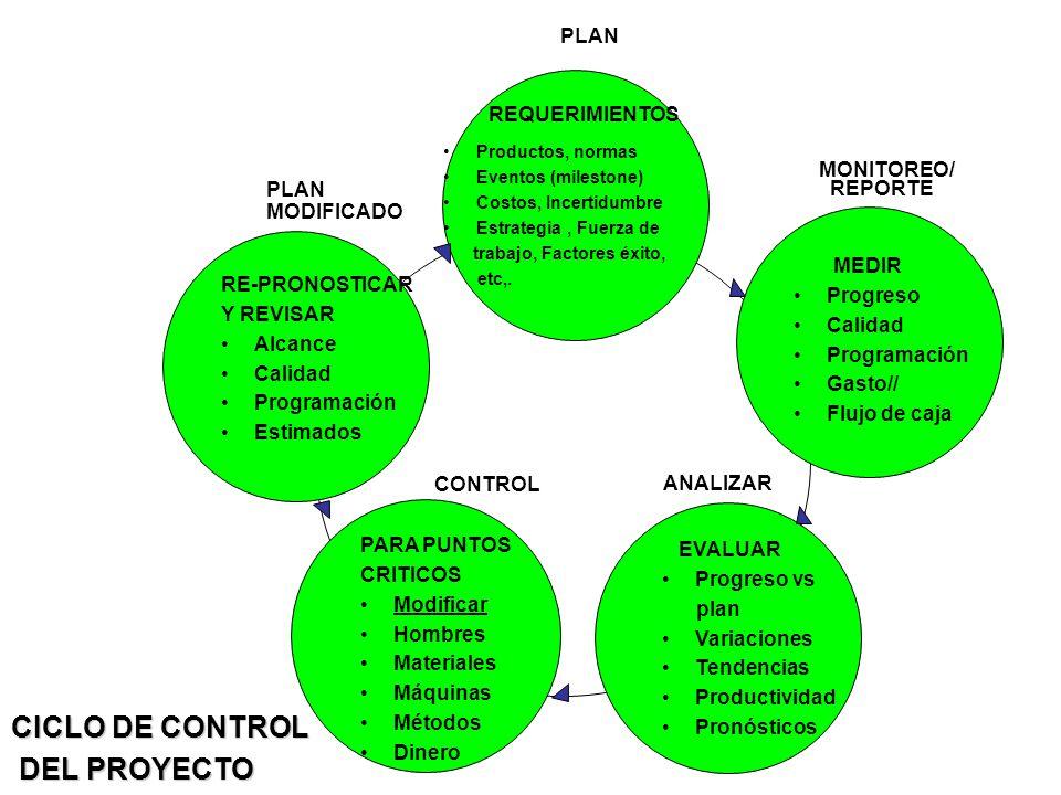 Productos, normas Eventos (milestone) Costos, Incertidumbre Estrategia, Fuerza de trabajo, Factores éxito, etc,.