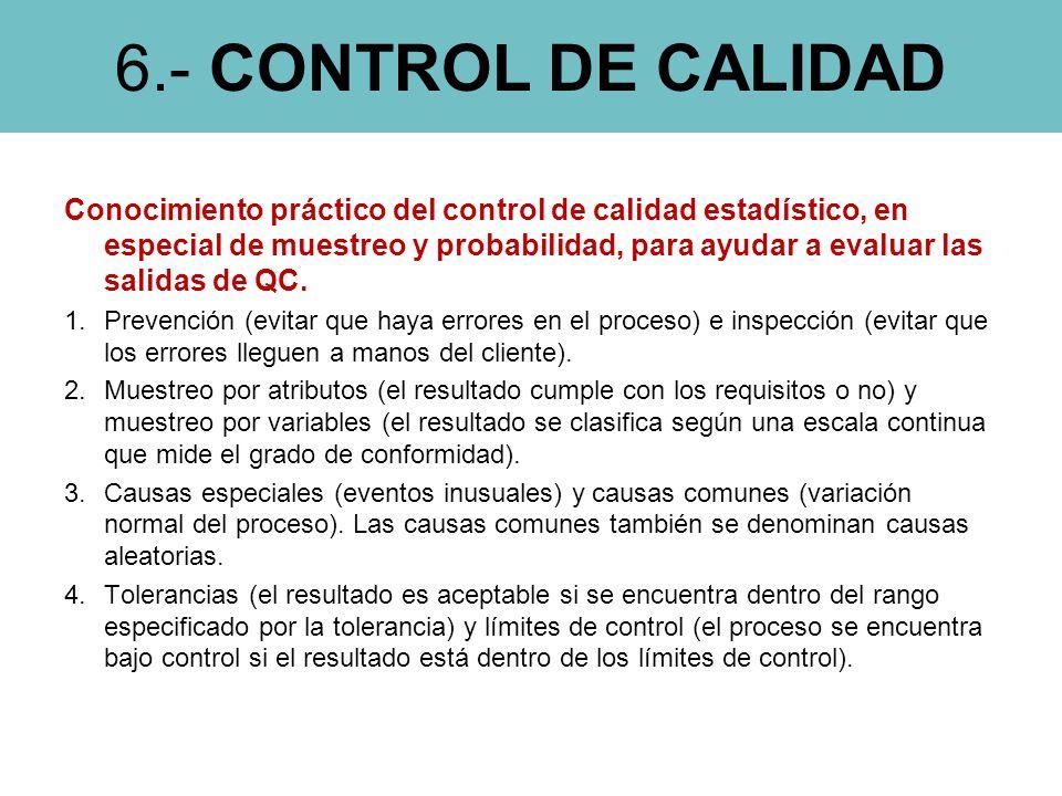 6.- CONTROL DE CALIDAD Conocimiento práctico del control de calidad estadístico, en especial de muestreo y probabilidad, para ayudar a evaluar las salidas de QC.